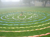 Ribbon mandala on the earth